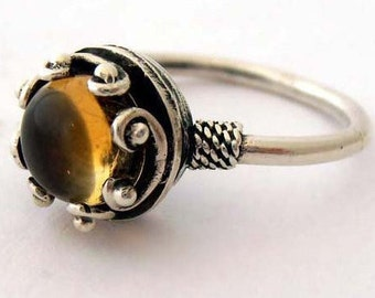 Yellow Citrine Ring, Citrine Solitaire Ring, Israeli Jewelry, Yellow Stone Ring, Yellow Gemstone Ring, Silver Citrine Ring, Israeli Rings