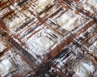 Vintage Mid Century Modern Curtain Panels, Brown and Neutral Colors, Pleated, Permanant Press, Montgomery Ward
