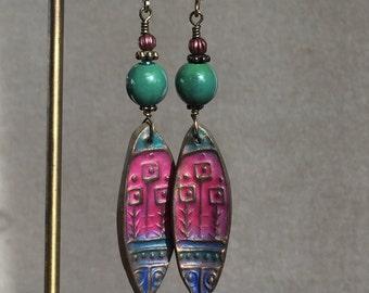 Jeweltone Enamel and Clay Earrings