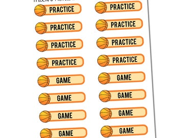 Basketball Practice/Game Sheet, Sports Stickers, Planner Stickers, Functional Stickers