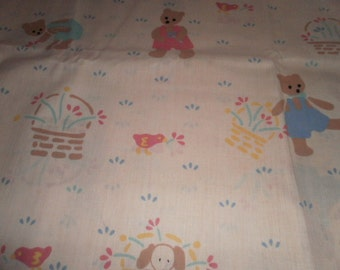 Beige Bear Print Cotton Fabric - Sold by the 1/2 yard