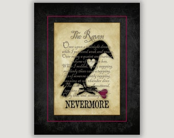 Goth Valentine, The Raven, Edgar Allan Poe, romantic Valentine, goth art, macabre art, library wall art, literature print, poetry art, print