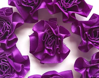 4 Large Purple Ribbon Ruffle Roses Rosettes Flowers 3.5cm  - Card Making Embellishments Craft Sewing