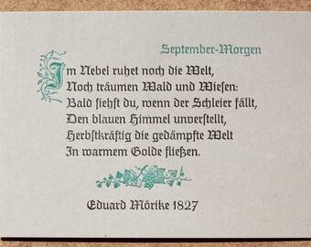 Postkarte »September-Morgen« (Mörike), Buchdruck, Bleisatz auf Graupappe