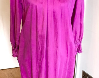 Vintage hot pink indian cotton tunic retro vintage dress