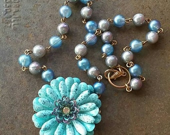 A Pretty BLUE flower Necklace  from Wendy Baker