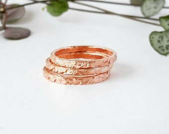 Copper Rings Stackable Textured rings Copper Jewellery Ring Set