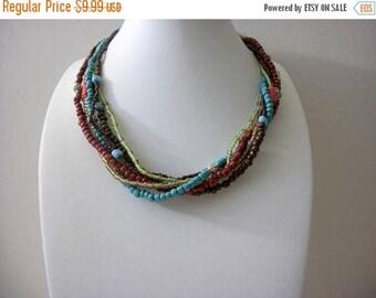 ON SALE Retro Southwestern Inspired Shorter Length Seed Beads Multi Strand Necklace 72216