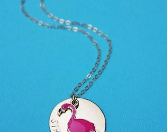 Strange Bird Stamped Pink Flamingo Necklace