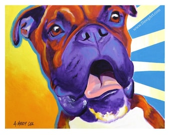 Boxer, Pet Portrait, DawgArt, Dog Art, Pet Portrait Artist, Colorful Pet Portrait, Boxer Art, Pet Portrait Painting, Art Prints