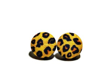 Leopard Print Earrings, Button Post Earrings, Small Fabric Studs, Cover Button Jewelry, Nickel-free Earrings, Titanium Jewelry, Cheetah