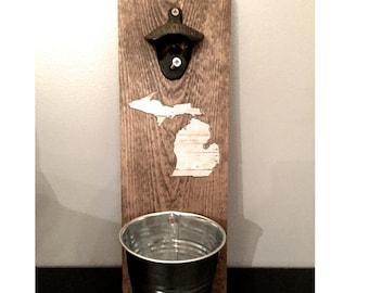 Beer bottle opener, rustic bottle opener, Michigan bottle opener, groomsmen gift, Father's Day gift, reclaimed wood, Michigan beer, bar gift
