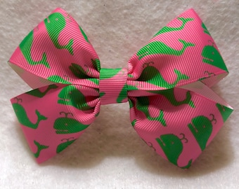 Girly Preppy Whale Bow