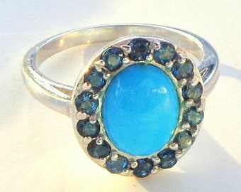Size 6, Sleeping Beauty Turquoise Ring, Blue Sapphire Halo, Sterling Silver Setting, Natural Gemstones