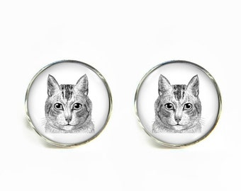 Cat small post stud earrings Stainless steel hypoallergenic 12mm Gifts for her