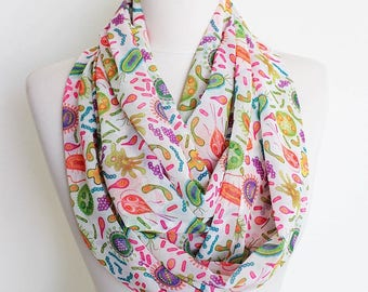 Microbiology Infinity Scarf Virus Cells Germs Circle Scarf Scarves Spring Fall Winter Summer Fashion Gift fo her teacher