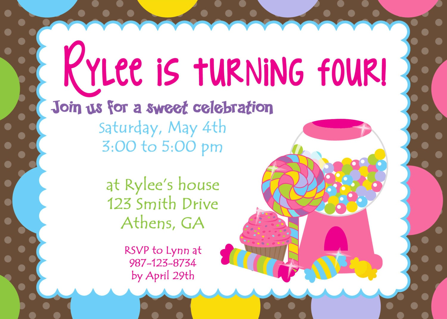 Printable Colorful Candy Land party invitation. Sweet Treats