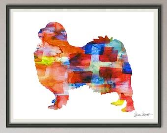 japanese chin art print watercolor print  silhouette painting print poster wall art decor drawing, dog wall art poster