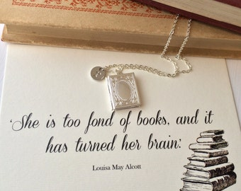 Book Lover Locket - Personalised Initial Charm - Fond of books- Literature Jewelry - Book Necklace - Silver Locket - Bookish gift for her