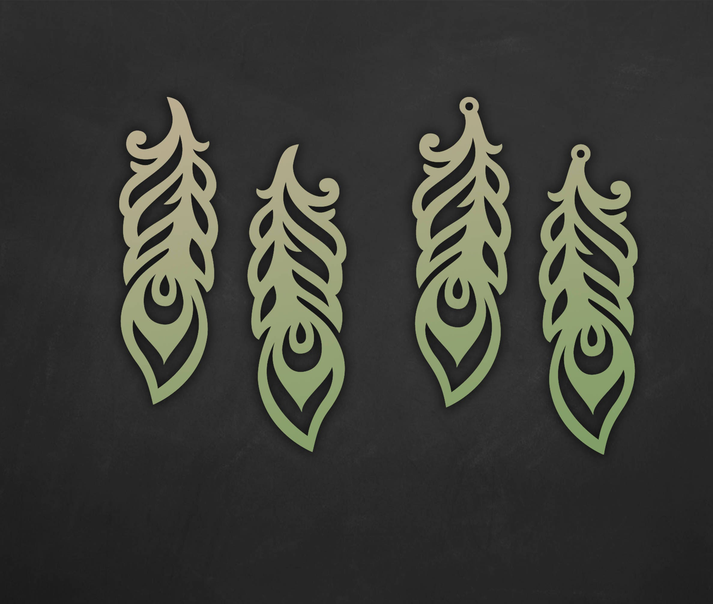 Faux Leather Feather Earrings Set, Laser Cut Templates