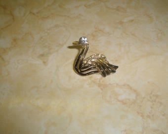 vintage pin brooch goldtone swan black enamel rhinestones