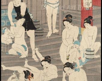 Japanese Art. Fine Art Reproduction. Ladies in the Bathouse #2, 1868 - Kunichika. Fine Art Print