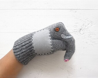 Elephant Gloves, Funny Gloves, Funny Gift For Him, Elephant Gift, Gift For Her, Wool Gloves, Elephant Design, Unique Gift Idea, Winter Gift