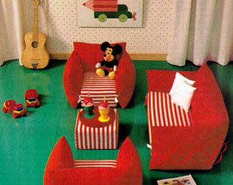 Children's Furniture ... Sewing Pattern ... Sofa and Chair ... Soft Furniture ... Kids Room Furniture ... Boy or Girl ... PDF Sewing Pattern