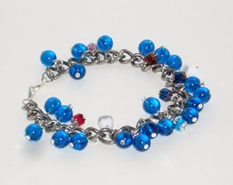 Waves Blue Glass Beaded Charm Bracelet