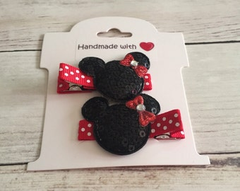 Minnie Mouse Hair Clips, Baby Hair Clips, Infant Hair Clips, Toddler Hair Clips, Baby Barrettes, No-Slip Hair Clips, Toddler Barrettes