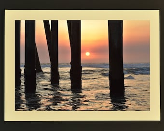 Photo Note Card, Sunset Through Pilings, Blank Greeting Card, Ocean Photo, Blank Photo Card, Note Card with Envelope, Handmade Note Card
