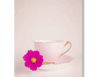 Vvintage tea cup photo canvas, kitchen wall art, flowers, shabby chic decor, granny chic, still life photography - The Cosmos and Tea Cups