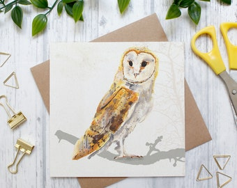 British Barn Own Illustration Card, British Owl, British Wildlife and Countryside