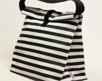 Adult lunch bag. Lunch tote.  Lunch box. Striped white and black. Handles. Reusable lunch bag. Food bag.