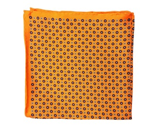 Silk Pocket Square / Pocket Handkerchief / Orange Handkerchief / Mens Handkerchiefs Men Hanky / Silk Handkerchief