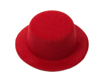 """5"""" Red Mini Top Hat Fascinator Base - Available in 14 Colors"""