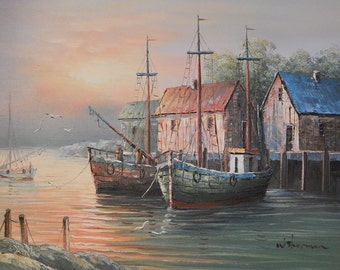 W Sherman . Oil Painting . Boats at Harbor Dock