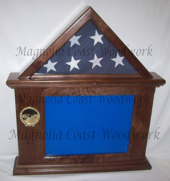 Walnut Flag Document Certificate Display Case Box Hand Made