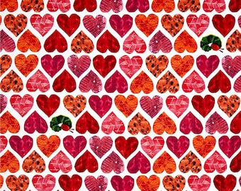 The Very Hungry Caterpillar Red Hearts Fabrics by Eric Carle's I Love You Collection