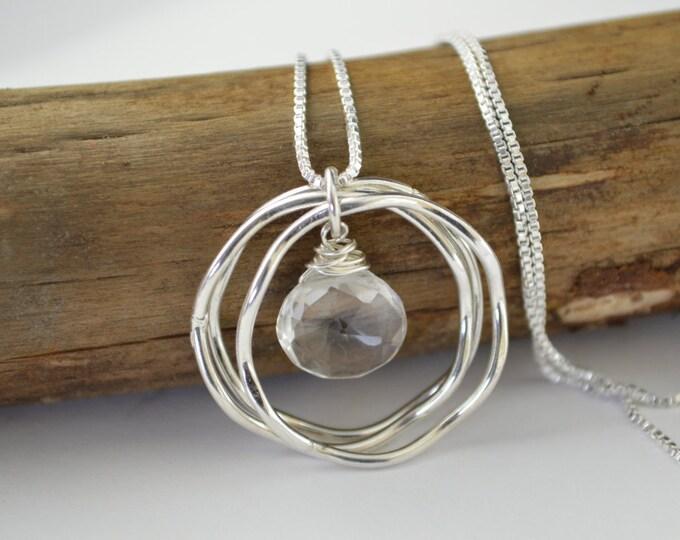 Rock crystal necklace, Crystal quartz necklace, April birthstone necklace, 30th birthday necklace, 30th birthday gift, Birthstone Necklace