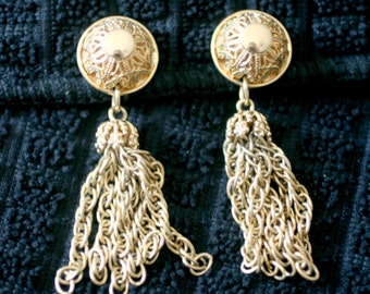 Filigree tassel clip on earrings