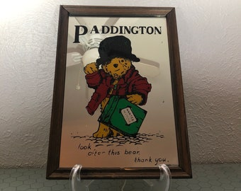 """Vintage Paddington Bear """"Look After This Bear"""" 1970s Collectible Decorative Wall Art Hanging Mirror w Frame"""