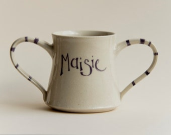 Double handled named mug with stripy handles for a unique gift, personalised gift, gift for a baby or child, quirky contemporary ceramics
