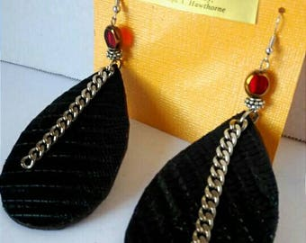 Black and burgundy leather earrings