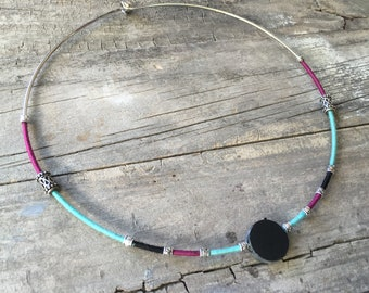 Necklace in Slate and cotton threads