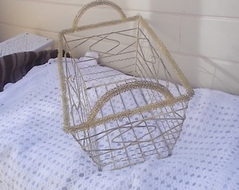 Vintage Metal Basket, Metal Basket, Storage Basket, Organization, Home Decor, :)s