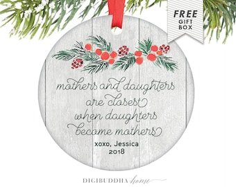 Rustic Mothers and Daughters Ornament, Presents for Mom, Pregnancy Gift, Mom and Daughter Christmas Ornament, Rustic Xmas Decor from Mother