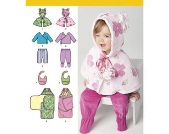 Sewing Pattern for Babies' Top, Pants, Bib, and Blanket Wrap, Simplicity 1564, Infants Capelet, Bib, Swaddle Wrap Blanket Pattern