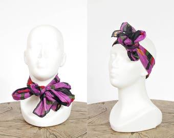 SALE 50% OFF 80s Color block street style silk scarf / silk headband