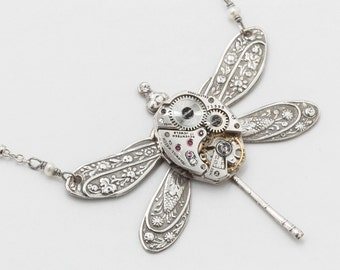 Steampunk Silver Dragonfly Necklace with Vintage Watch Movement and flower Leaf Motif, Pearl & Swarovski Crystal Statement Steampunk jewelry